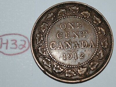 Canada 1912 1 Large cent Canadian one George V Penny coin Lot #H32