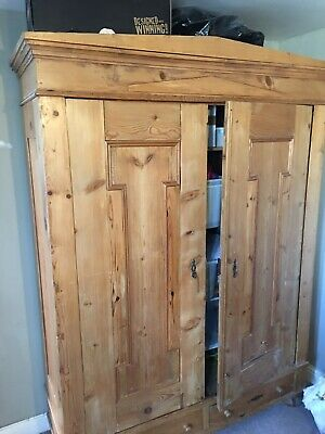 Antique double Pine Wardrobe with 2 large drawers.