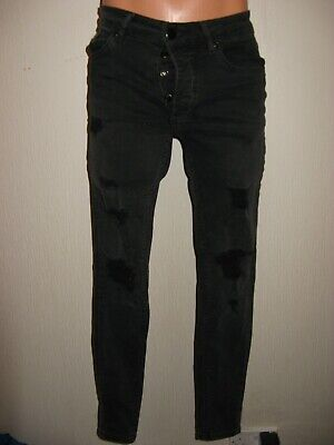 Worn Once Boys Super Skinny Rip & Repair Gym King Stretch Black Jeans 28 Waist