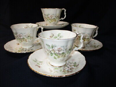 Haworth Royal Albert 4 Espresso Demitasse Cup Saucer Sets A1 Cond Footed