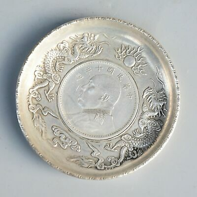 Collect Old Miao Silver Carve Dragon Inlay 1949 Year Coin Delicate Dish Statue