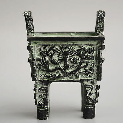 Collect China Old Bronze Hand-Carved Lifelike Dragon Auspicious Delicate Censer