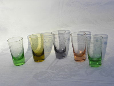 5 Vint Wales Different Colored Glass Flower Etched Shot Glasses Cordials, Japan