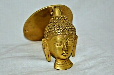 Brass Door Knocker Buddha Face in Antique Finish Vintage Look Home Decor