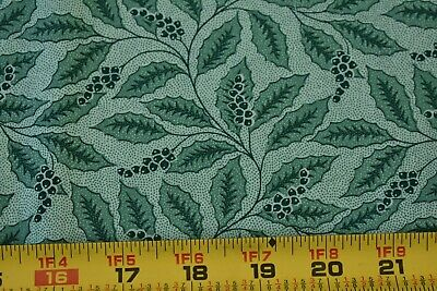 N226 White Leaves on Green Quilting Cotton By 1//2 Yd