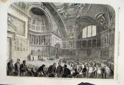 Original Old Antique Print 1861 Sitting French Senate Men Working Victorian