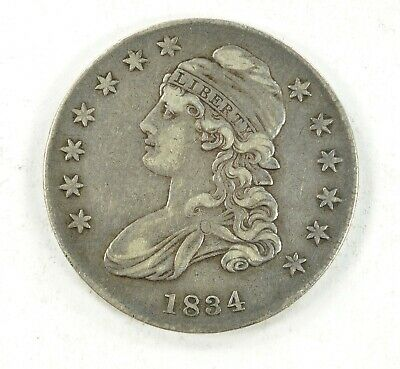 1834 Capped Bust Silver Half Dollar Nice Coin VF Lettered Edge Small Date Stars