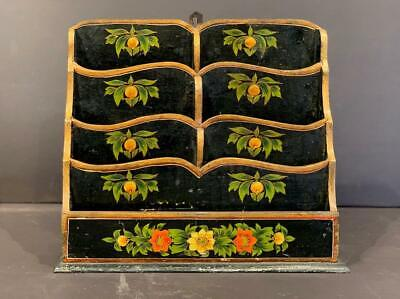 Early 20thc paint-decorated Letter Holder