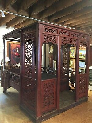 Qing Dynasty Antique Chinese Wedding Bed w/ Alcove Carved Red Lacquer c. 1680