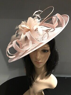 BLUSH PINK WEDDING ASCOT DISC HATINATOR Mother Of The Bride Hat OCCASION FORMAL