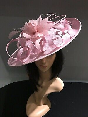 CHALK BABY PINK WEDDING ASCOT DISC HATINATOR Mother Of The Bride Hat OCCASION