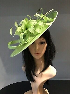 LIME GREEN WEDDING ASCOT DISC HATINATOR Mother Of The Bride Hat OCCASION FORMAL