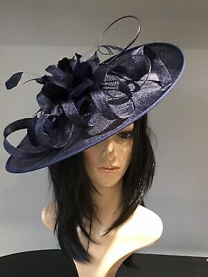 NAVY BLUE WEDDING ASCOT DISC HATINATOR Mother Of The Bride Hat OCCASION FORMAL