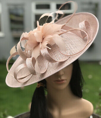 BLUSH PINK SILVER WEDDING ASCOT DISC HATINATOR Mother Of The Bride Hat OCCASION