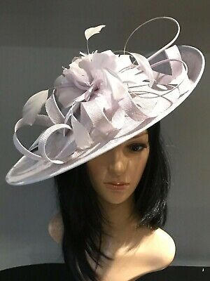 SILVER GREY WEDDING ASCOT DISC HATINATOR Mother Of The Bride Hat OCCASION