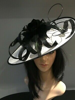 WHITE AND BLACK WEDDING ASCOT DISC HATINATOR Mother Of The Bride Hat OCCASION
