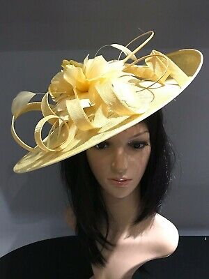 YELLOW WEDDING ASCOT DISC HATINATOR Mother Of The Bride Hat OCCASION FORMAL