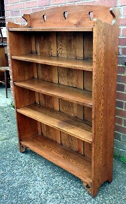 Edwardian antique Arts & Crafts Liberty & Co solid oak hearts library bookcase