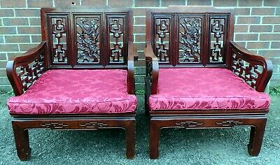 Pair antique Chinese Republic period solid carved rosewood club chairs armchairs
