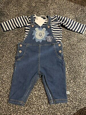 BNWT Next Baby Boy Denim Dungaree 2 Piece Set / Outfit Age Up To 3 Months