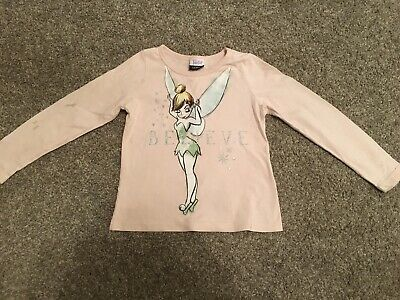Girls Age 3-4 Pink Long Sleeved Tinkerbell Top From George