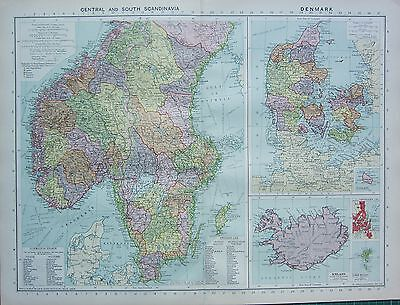 1934 Large Map ~ Central & South Scandinavia ~ Denmark Iceland