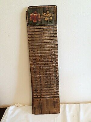 Antique Primitive Carved Washboard Towle Painted