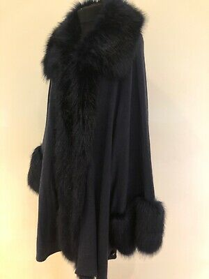 JAYLEY NAVY BLUE Faux FUR TRIMMED WOOL BLEND PONCHO CAPE ONE SIZE Shawl
