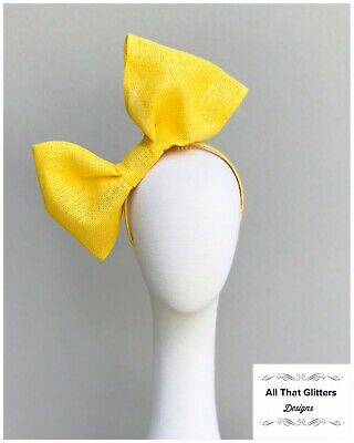 Ladies Yellow Bow Fascinator Wedding Races Melbourne Cup