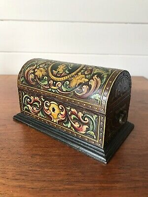 Vintage Hand Painted Wooden Jewellery Box/Chest