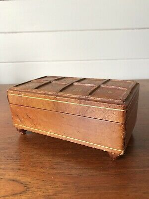 Vintage Hand Tooled Leather Musical Jewellery Box Made In Italy