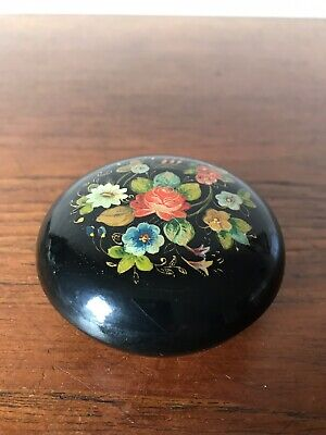 Vintage Russian Wooden Trinket Box Floral Folk Art Hand Painted Made in USSR