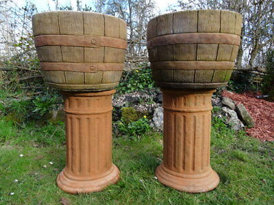 Pair Vintage French Style Stone Planter Barrel Planter Urns