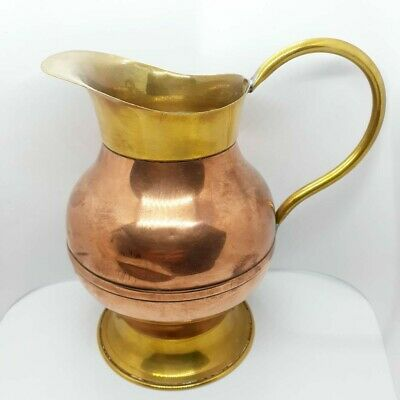 Vintage Dutch Pitcher Jug Copper Brass Hammered Hand Made Holland Size 6.5""