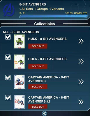 Topps Marvel Collect Digital Card 8-Bit Avengers 12 Card Set With Awards.