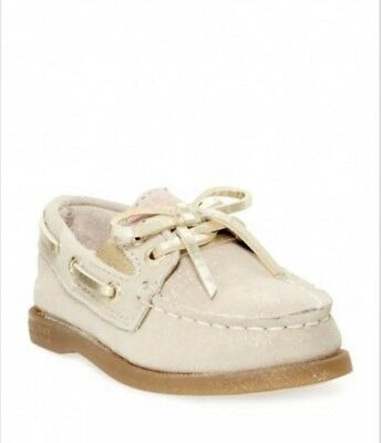 Sperry Slip On Shimmer Gold Boat Shoes CG50777 Toddler Girls 11.5