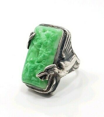Vintage Art Deco? Sterling Silver 925 Asian Chinese Dragon? Carved Jade? Ring