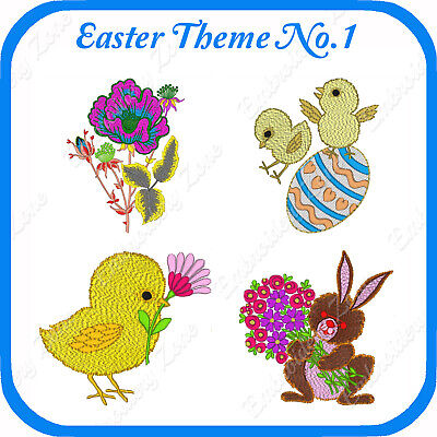 18 Easter Themed Embroidery Designs On Usb - No.1 - Pes Jef Hus Pcs Xxx Vp3