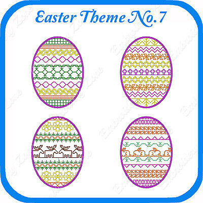 18 Easter Egg Embroidery Designs On Usb - No.7 Pes Jef Hus Pcs Xxx Vp3