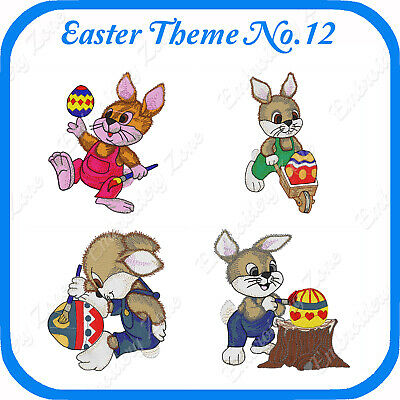 12 Easter Themed Embroidery Designs On Usb - No.12 - Pes Jef Hus Pcs Xxx Vp3