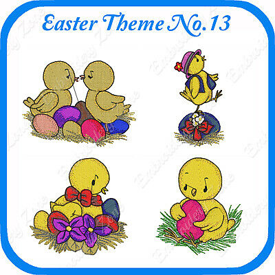 4 Easter Themed Embroidery Designs On Usb - No.13 - Pes Jef Hus Pcs Xxx Vp3