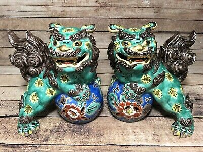 Vintage Foo Dogs Pair Lion Guardian Statues Painted Ceramic Green Komainu