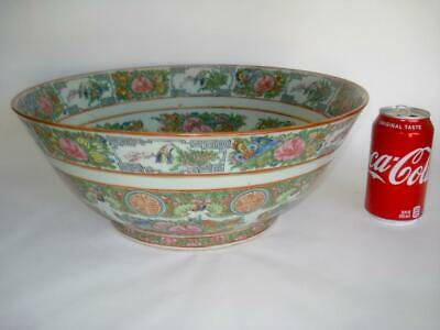 "Large 14.5"" Antique Chinese Export Porcelain Punch Bowl Famille Rose 1890"