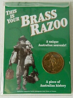 One Brass Razoo 1994 Genuine Collectable Coin with 10 Page Booklet