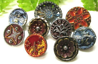 Pretty Lot Of Victorian Blue And Red Tinted Metal Buttons B57