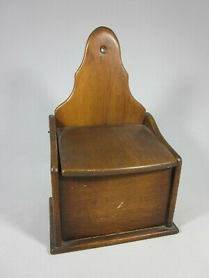 Antique - 1900's Primitive - Wood - Wall Hanging Salt Box