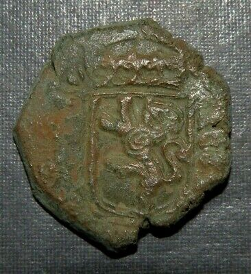 Cob Pirate Spanish Colonial Coin Lion Ancient Medieval 1500's Antique Bronze Old