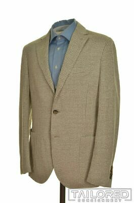 ELEVENTY Beige Houndstooth LINEN COTTON Mens Blazer Sport Coat Jacket - 42 R
