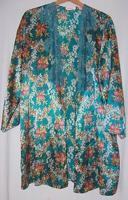 Victorias Secret Gold Label Womens Satin Floral Robe Emerald Green Red White S