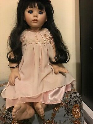 Fragile porcelain doll, Hand Made Clothes Hand Sewn Has A Damaged Foot Made 1995